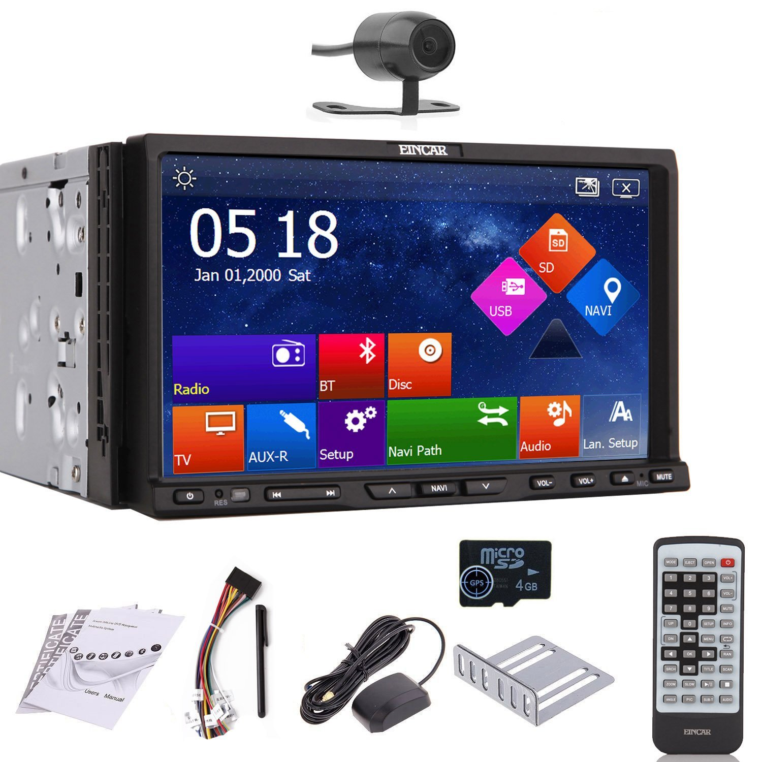 Eincar GPS Navigation Rear Camera 7-inch Motorized Capacitive Double-2 DIN in Dash Car DVD Player Touch Screen LCD Monitor with Dvd/cd/mp3/mp4/usb/sd/am/fm/rds Radio/bluetooth/stereo/audio and SAT NAV Wall Paper Exchange Hd:800*480 Lcd+windows Win 8 Ui Design Free GPS Antenna+free GPS Map+free