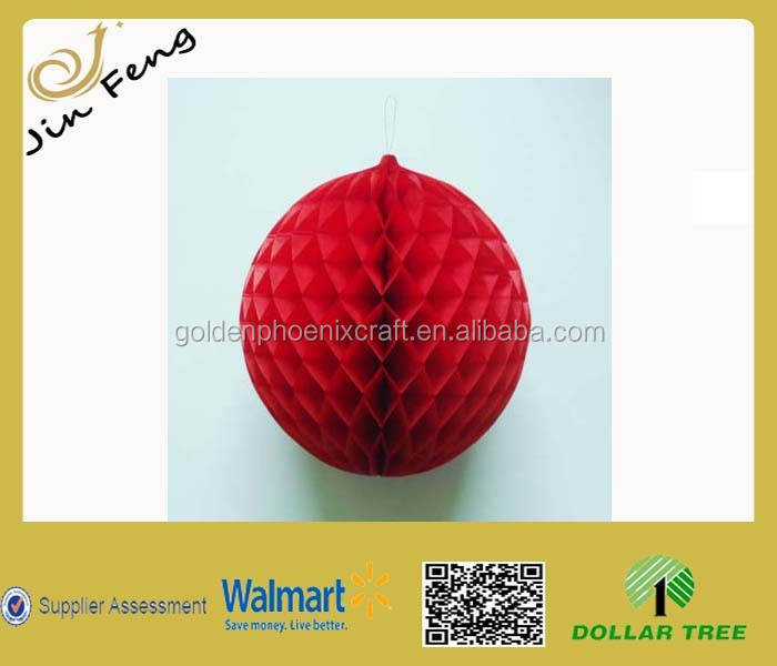Hot Sales Red Christmas Ball Honeycomb Decoration For Party /Tissue Paper Decoration