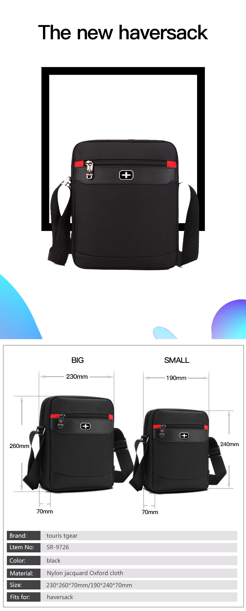 high quality men shoulder sling bag messga bag with strap