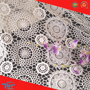High Quality Round Pattern Embroidery Polyester Floral Dress Fabric