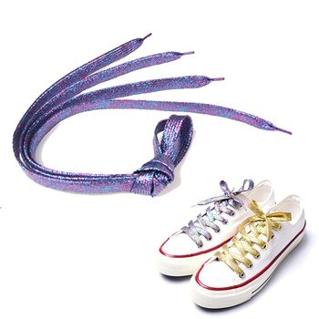 "Shimmery Purple 43"" Multiple Solid Colors Flat Shoelaces For Teams Cheer Dance Gifts Sneakers Accessories"