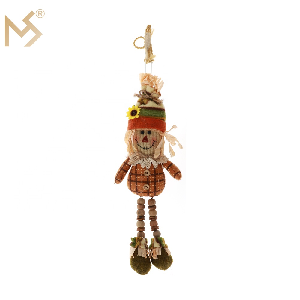 Harvest festival outdoor garden straw scarecrow on rod decoration