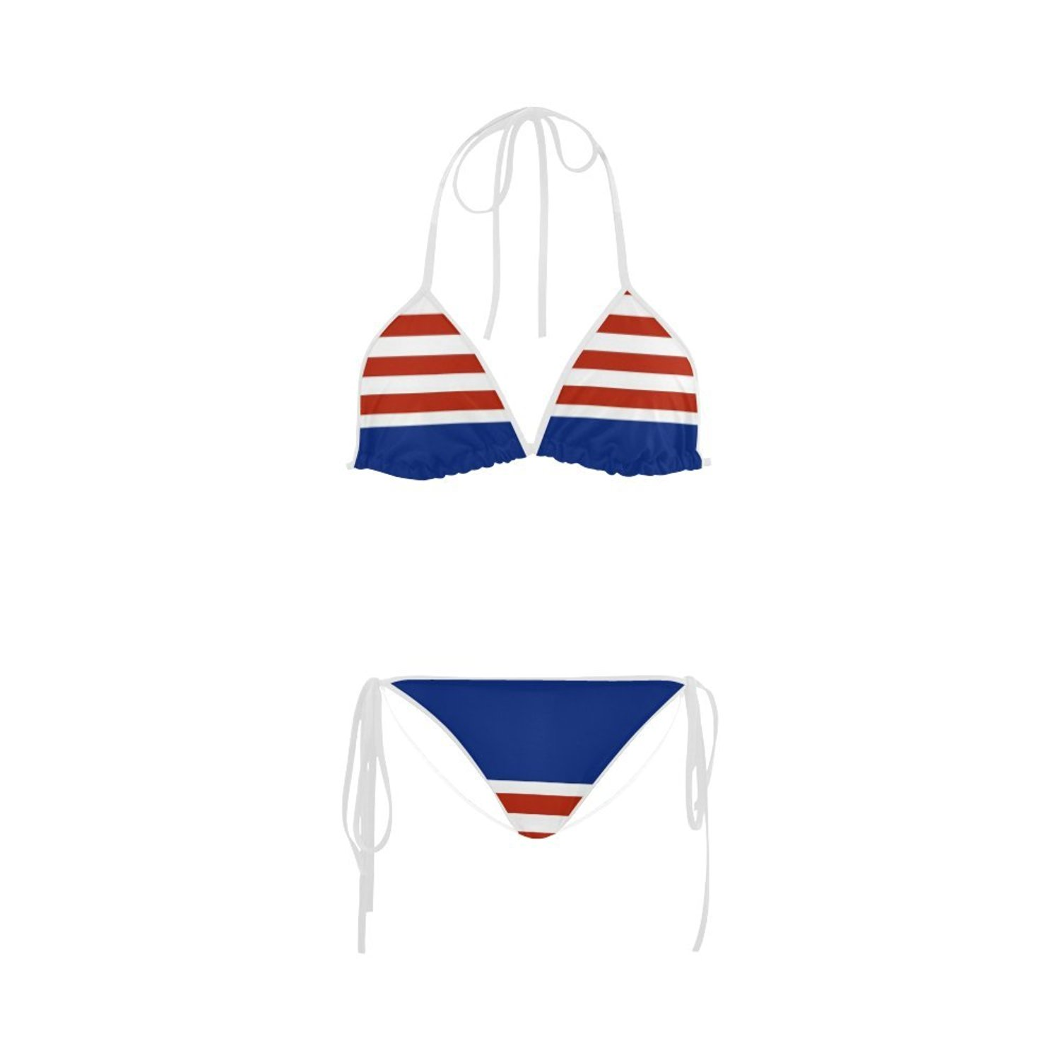 67913a8add Get Quotations · Honey Day House Custom Red White And Blue Striped Womens Bikini  Swimsuit Swimwear