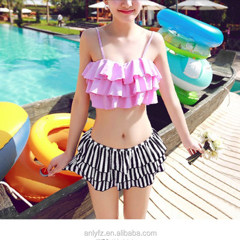 186cfa857 Best quality summer beach dress young girls small chest gathered skirt  bikini two-piece swimwear