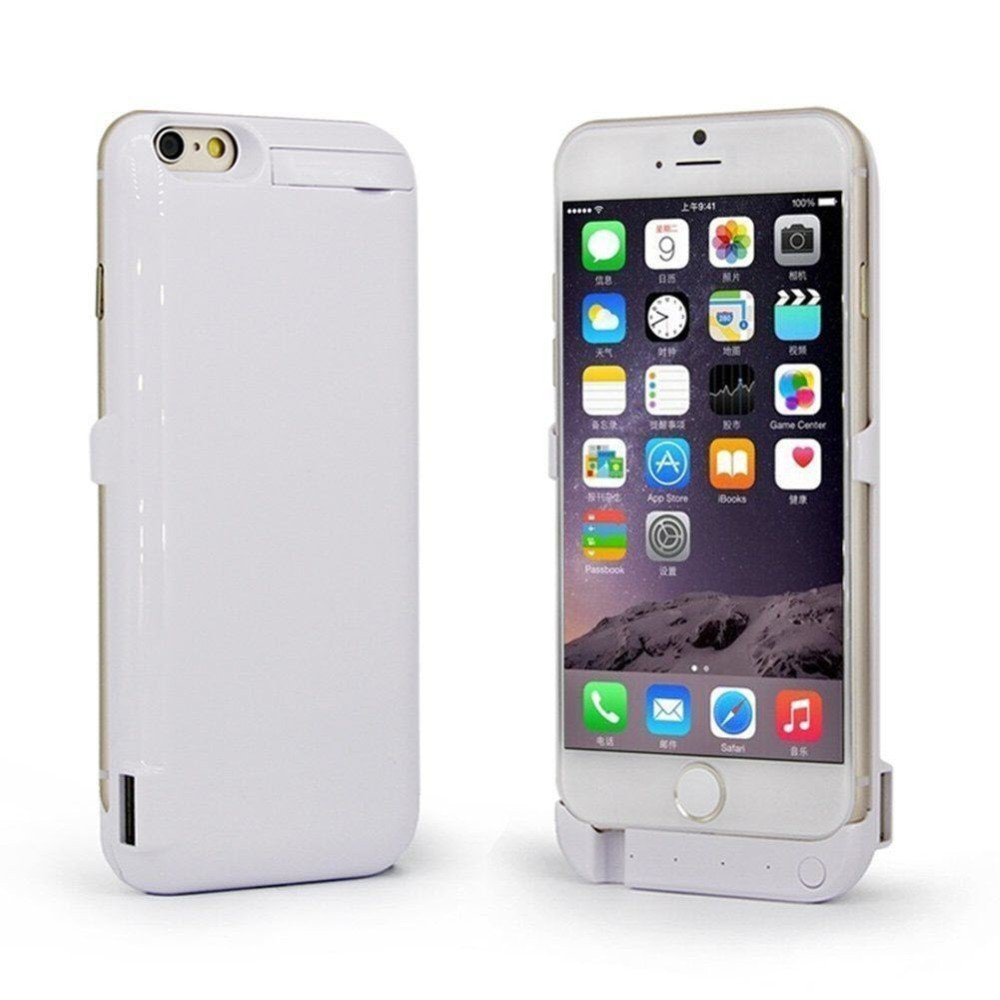 GEEK3C iPhone Wireless Battery Case Portable Charger Power Bank External USB Invisible Bracket Exclusive for iPhone6 & iPhone6s with 10000mAh Capacity of Battery (White(5.5/4200mAh))