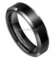 Tungsten Carbide Men's Unisex Ring Wedding Band 6mm Flat Top Two Tone Black Beveled Edge Comfort Fit