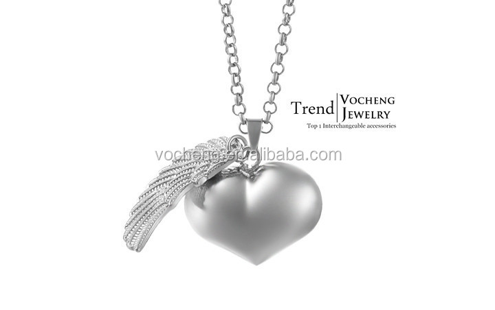 (10pcs/lot) 3 colors vocheng Heart Angel Wings Ringing Angel Ball Maternity Pendant Necklaces (VA-077) Free Shipping