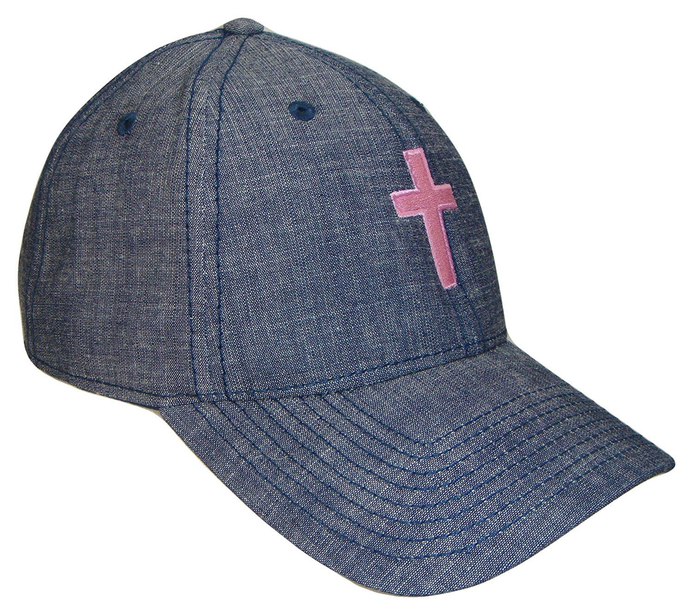 Get Quotations · Christian Cross Blue Jean Denim Baseball Cap (One Size 306b5756251