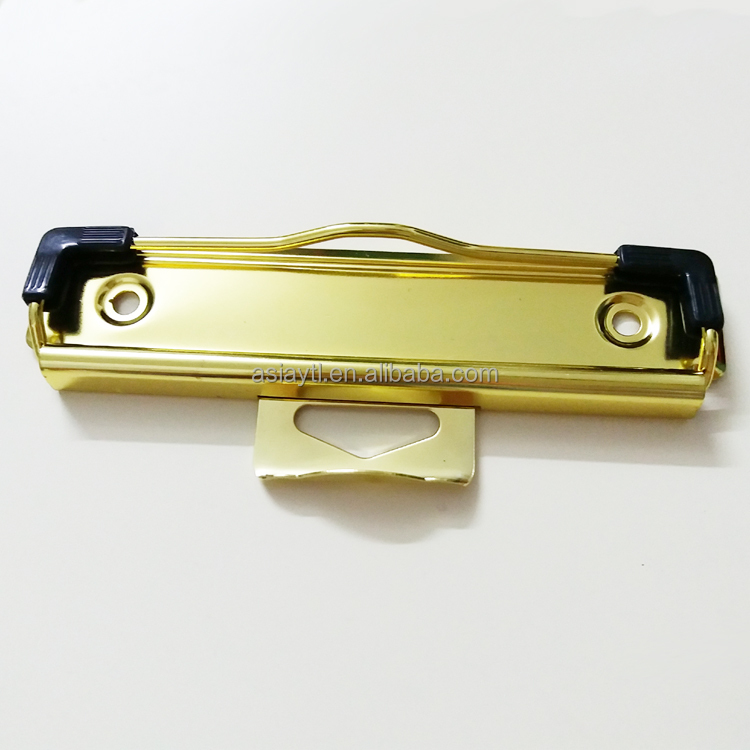 luxury gold metal clipboard clip for exhibition clipboard with hanger and plastic edge 120mm