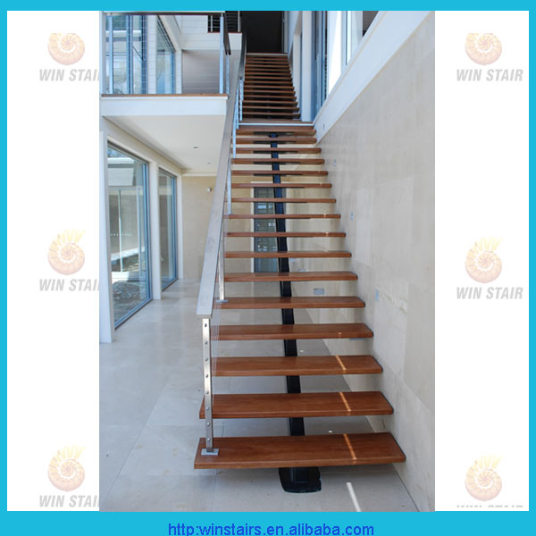 Straight Stair With Wood Tread/mono Beam Staircase/central Steel Spindle  Stairs