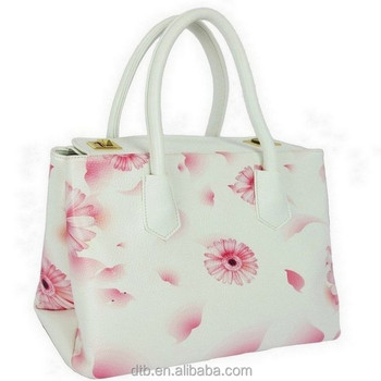 New 2015 Spacious Flower Print PU Leather Women Tote Bag for Spring Summer