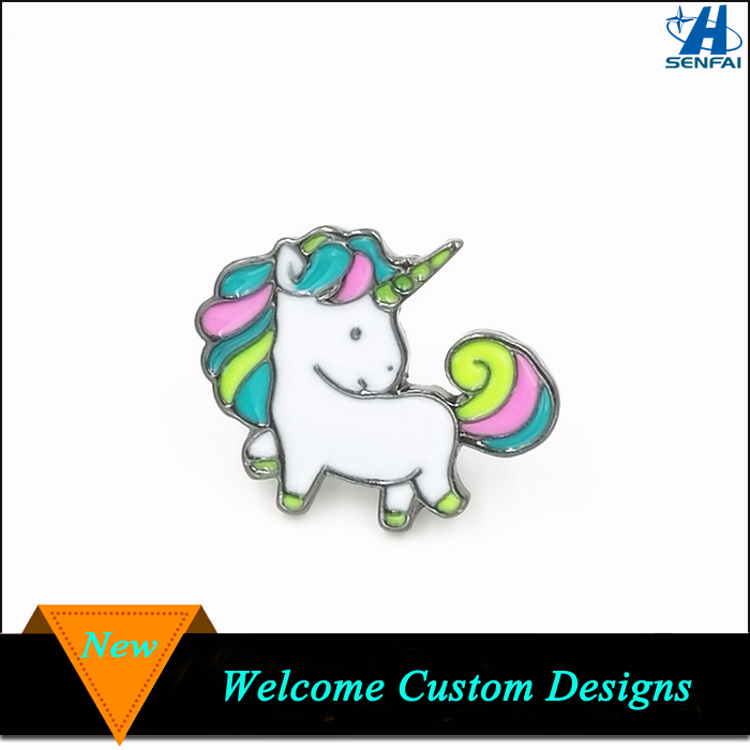 Wholesale Fashion Jewelry Silver Enamel Unicorn Horses Brooch For Promotion Gifts