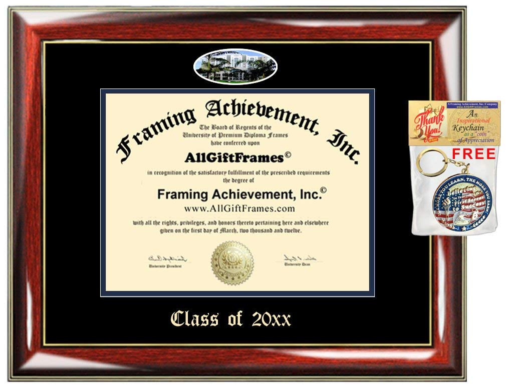AllGiftFrames Custom Diploma Frame Embossed Florida International University College Best Graduation FIU Degree Frame Double Mat Campus Fisheye Picture Frame Cheap Graduate Gift