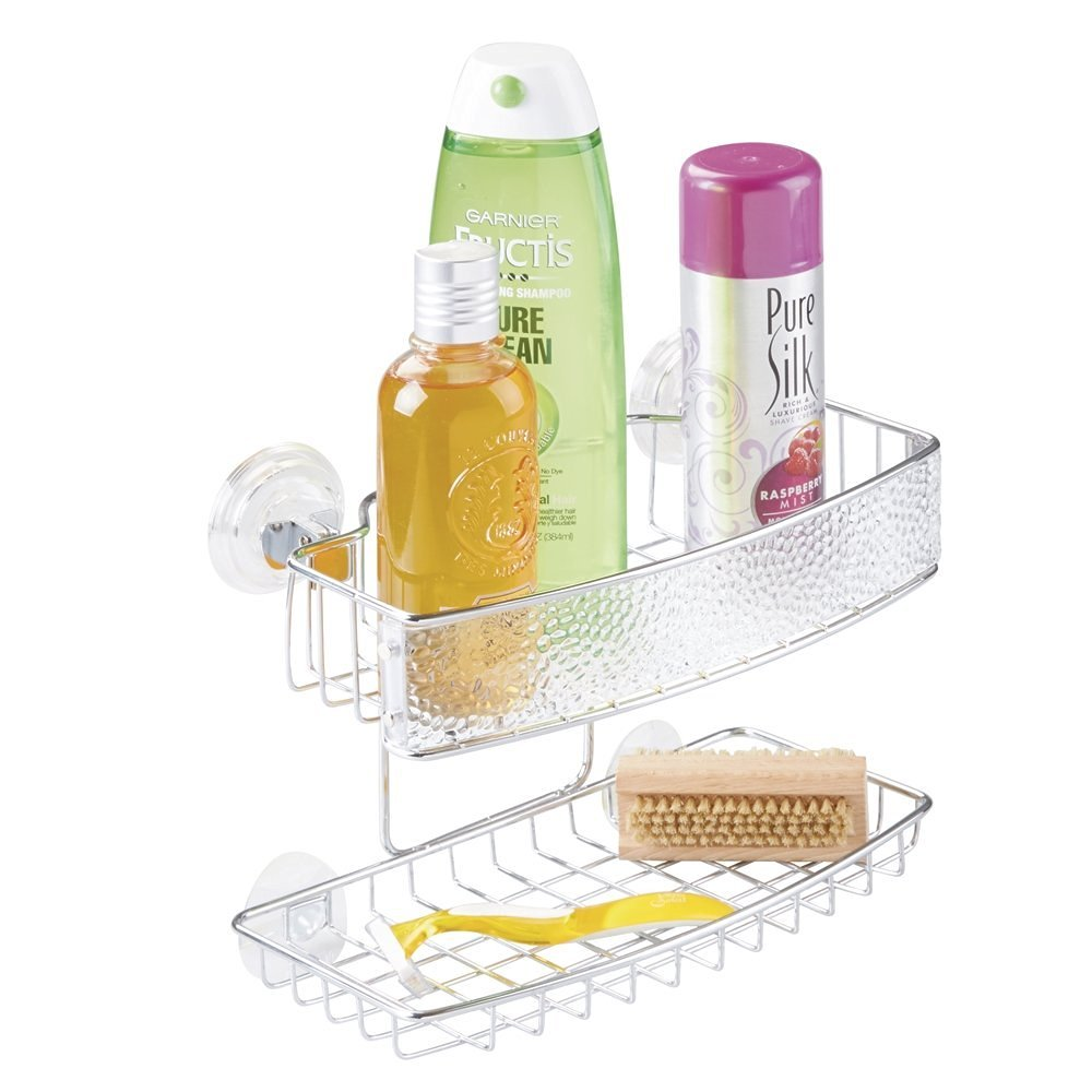 Buy mDesign Bathroom Shower Caddy Suction Shelf for Shampoo ...