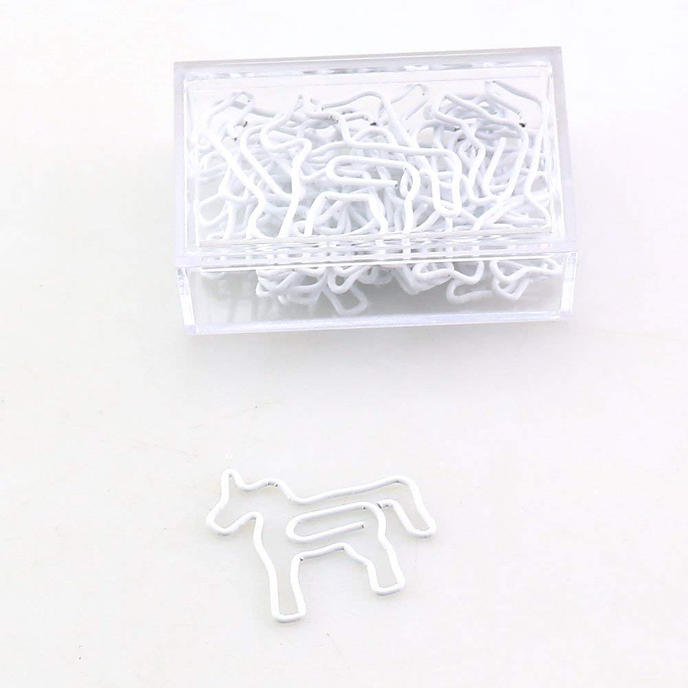OUTU 20pcs/Box Shape Paper Clips Funny Kawaii Bookmark Office Shool Stationery Marking Clips H0129 (Unicorn)