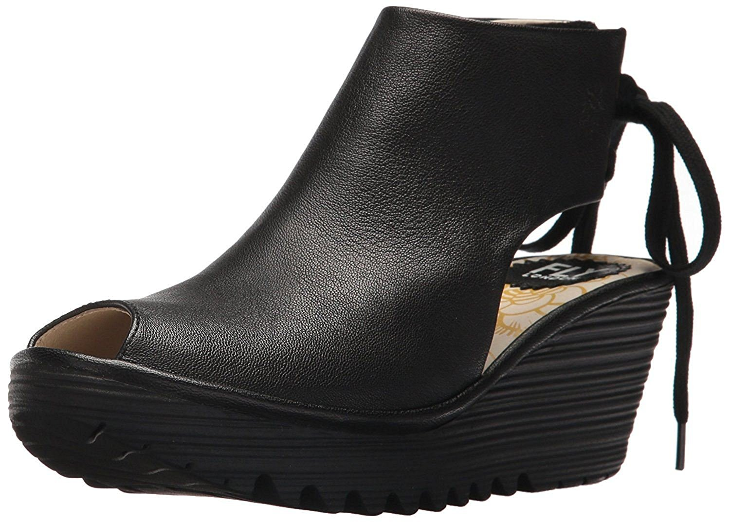 52693fd8c28 Get Quotations ·  Fly London Yuzu800fly Black Womens Leather Wedge Sandals  Shoes