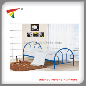 Blue Concise Style metal single bed for kids