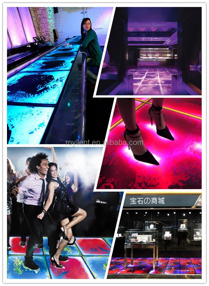 Royllent modern house fashion show led dance liquid floor tiles