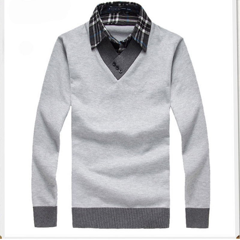 Get Quotations · High Quality 2015 Men Pullover Shirt Collar Male Sweater  New Designer Cool Mens Sweaters Jumpers Slim f3c2031e5