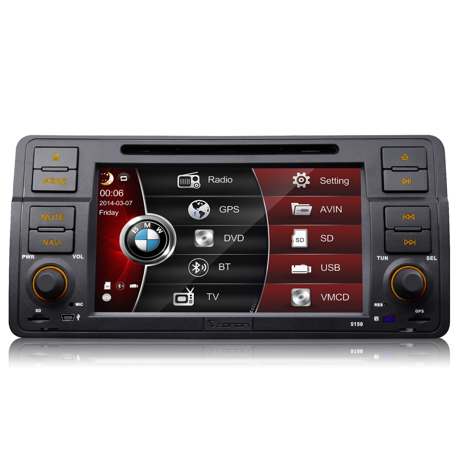 """Eonon D5150zu 1din Special for BMW 3 Series E46 M3 1998-2005 7"""" Car DVD Player GPS SAT NAV Radio Stereo Bluetooth Touch Screen Steering Wheel Control (Us-canada Map Included)"""