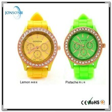 Wholesale high quality various neon colors geneva rhinestone fashion silicone jelly candy watches