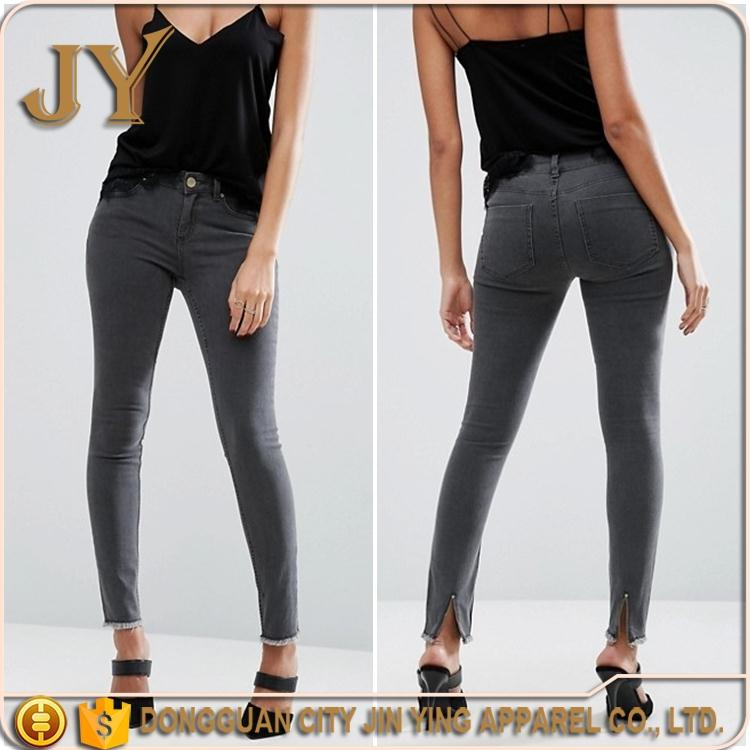 New Style Jeans Pants Women Mid Rise Skinny Zip Back Hem Pants Gray Denim Trousers Jeans Pents