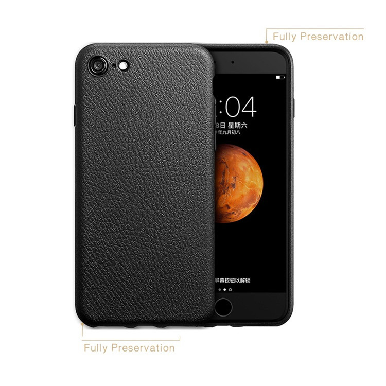 Premium Leather Back Flexible TPU Silicone Hybrid Soft Slim Cover Case for iPhone 7 6 6s (Black)