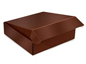 "Decorative Shipping Boxes - Chocolate Gourmet Shipping Boxes 12x12x3"" Auto Lock Boxes - (6 Per Pack) - WRAPS - 54CH"