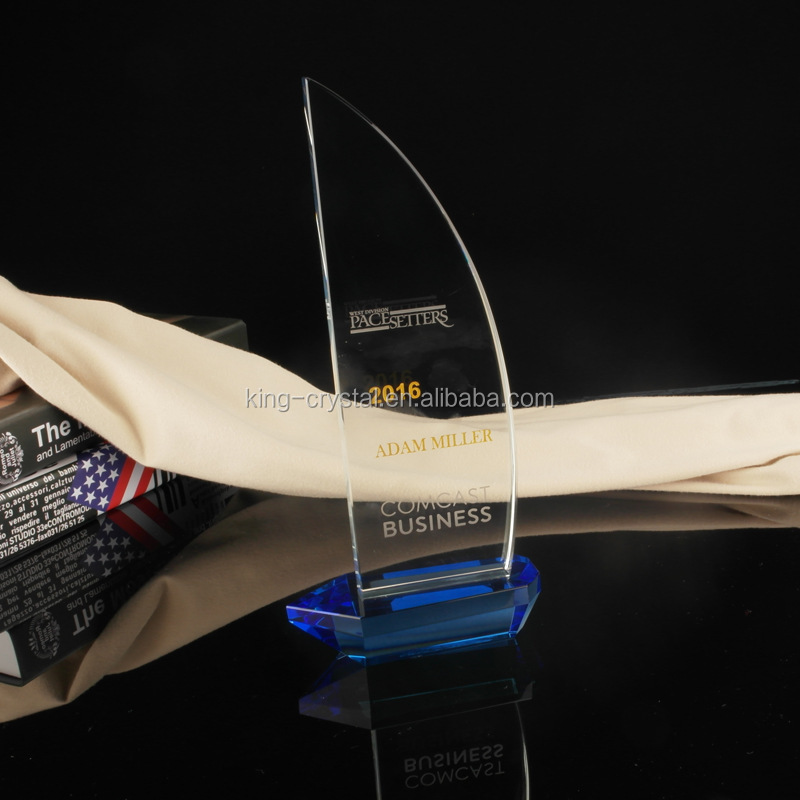 Crystal 3D Laser Engraved Ship Trophy For Navigation Souvenir