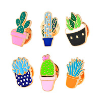 8 Style Fashion Cartoon Brand Enamel Lovely Badge colour potted plants pin cactus Decorative Denim Garment Brooch Badge Hat girl