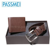 Hot selling men leather wallet belt gift set
