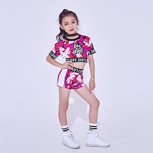 6adebc9e791f New Jazz Dance Costume For Girls Cheerleader Dancing Hip Hop Costumes Kids  Dancewear Tops Shorts 2 Pcs Set Jazz Clothes DL2456