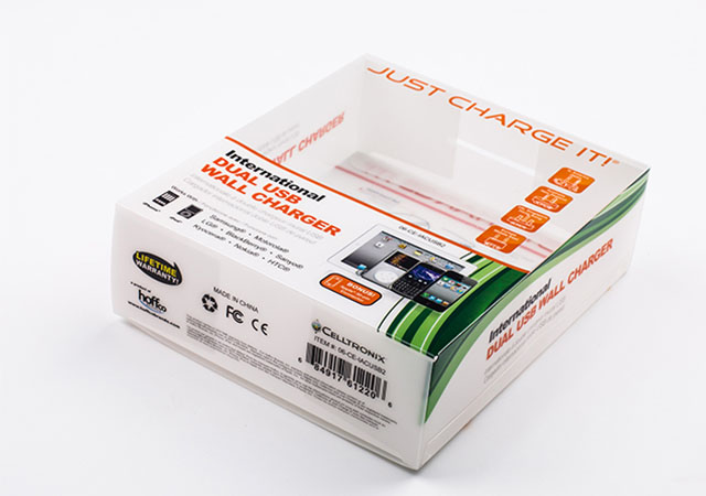 cheapest pvc box product packing, phone charger plastic folding pvc box cholyn