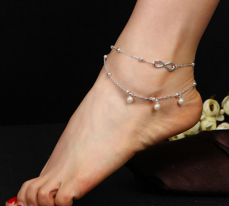 sterling silver handmade in jersey infinity adjustable anklet