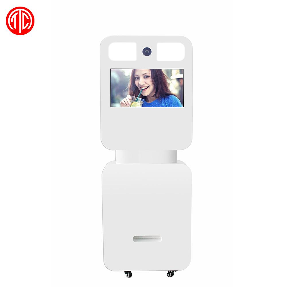 22 pulgadas FHD de pie pantalla táctil lcd de cabina de la foto de la máquina de la impresora de la Cámara construir PC sistema OS WiFi conectar Facebook compartir