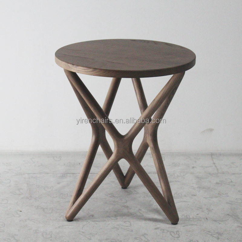 Living room furniture nordic style solid wood tea table/Home design furniture wooden round coffee table