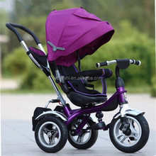 Cheap price high quanlity baby tricycle with handle bar and foldable sunshade