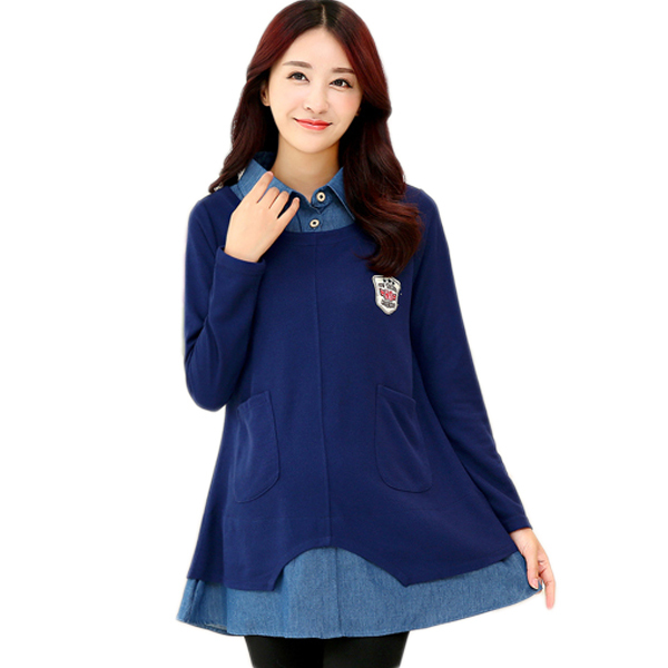 16098e3d6ad Get Quotations · Maternity Blouse Denim Shirts for Pregnant Women Shirt  Maternity Tops T-shirts Plus Size Women