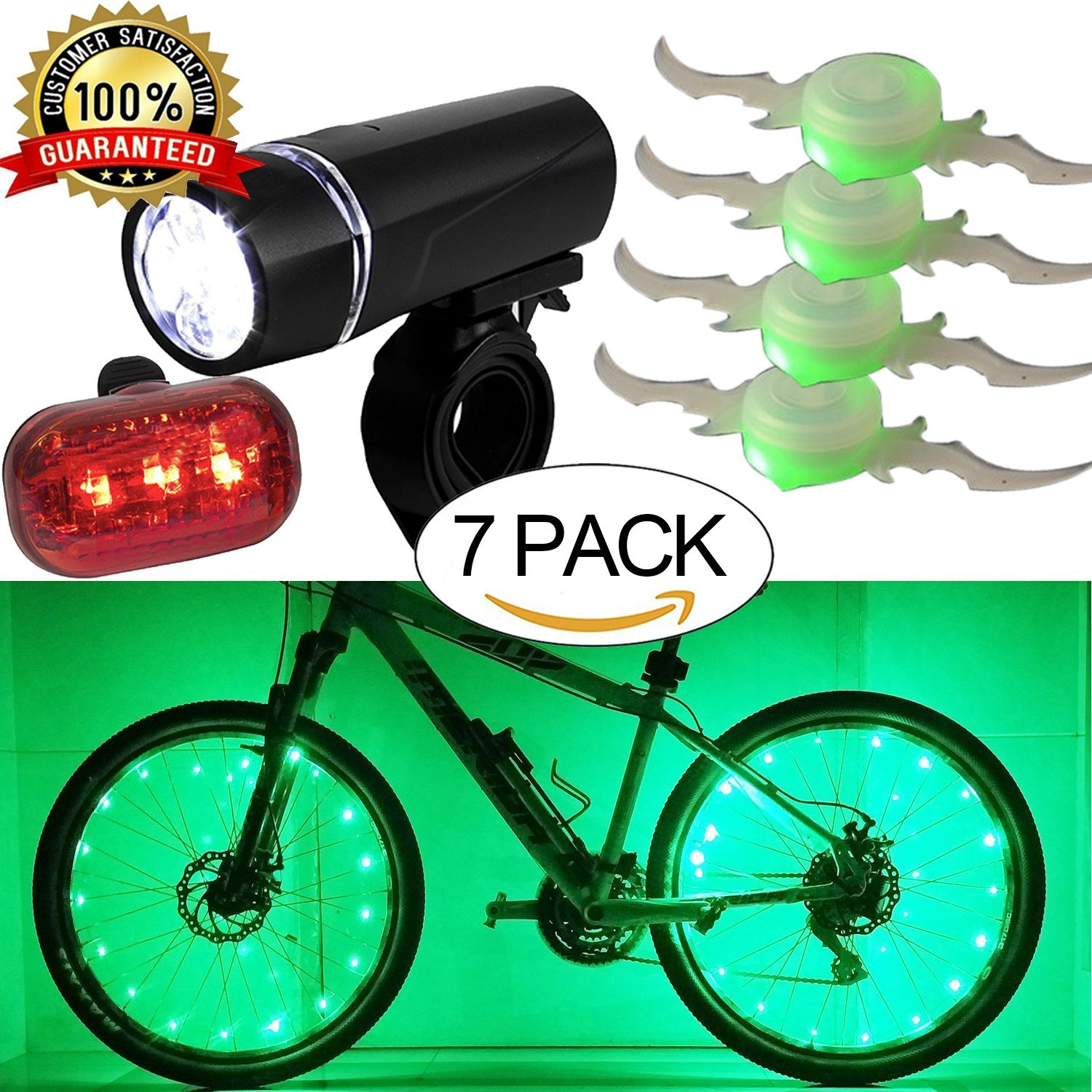 Bicycle LED Light Set Super Bright Headlight Taillight,Waterproof Flashlight Bike Wheel Lights,Colorful Bicycle Wheel Spoke,Cycling Light String,Bicycle Tire Accessories-GREEN