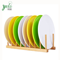 Bamboo Plate Bowl Cup Book Pot Lid Cutting Board Drying Drainer Storage Holder Organizer, Dish Drainer Rack