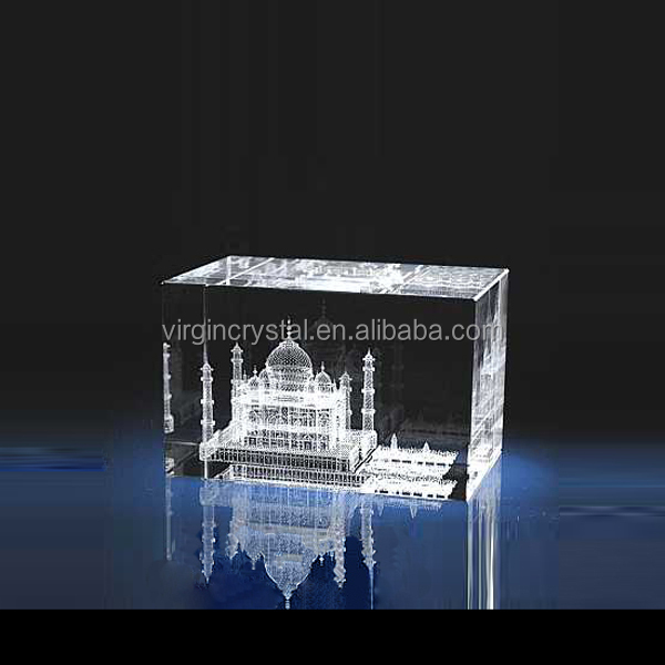 Crystal block crystal cuboid 3D crystal Taj Mahal engraved for souvenir gifts