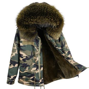 fd8551bdfa Winter Women Faux Fur Lined Army Jacket Large Raccoon Fur Collar Hooded Coat  Outwear 2 in
