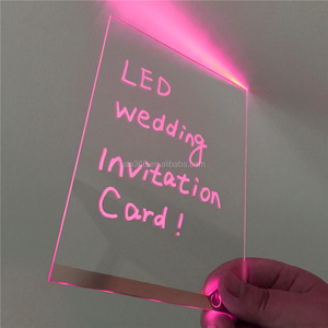 Unique idea Engrave Laser Printing LCD Card Custom PINK LED Acrylic wedding invitation Card Blue LED Greeting Receiving Card