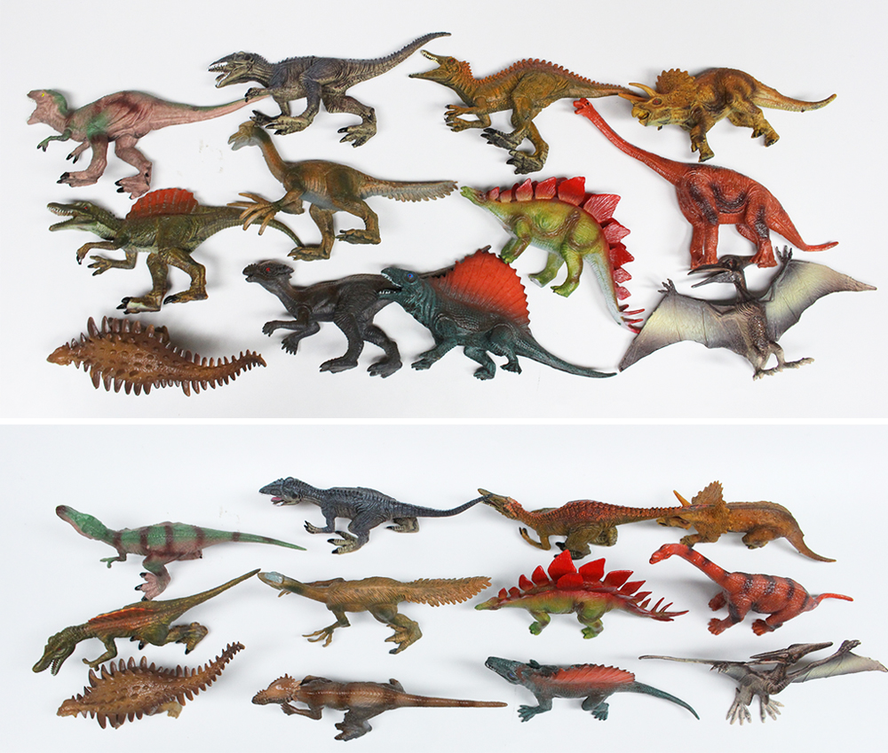 12 kinds mixed 7' plastic solid dinosaur toy for dinosaur theme park souvenir gift