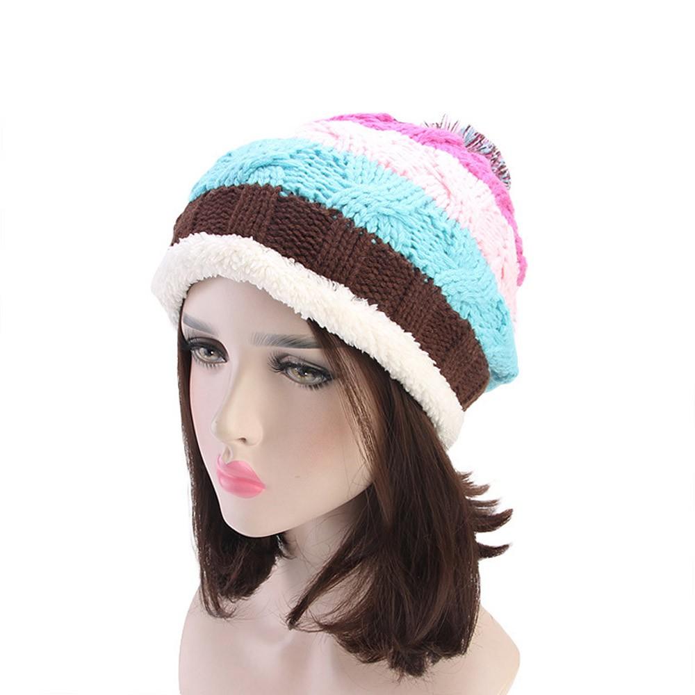 addbcc8bdca Women Soft Stretch Knit Rainbow Stripe Hat Warm Crochet Wool Ski ...