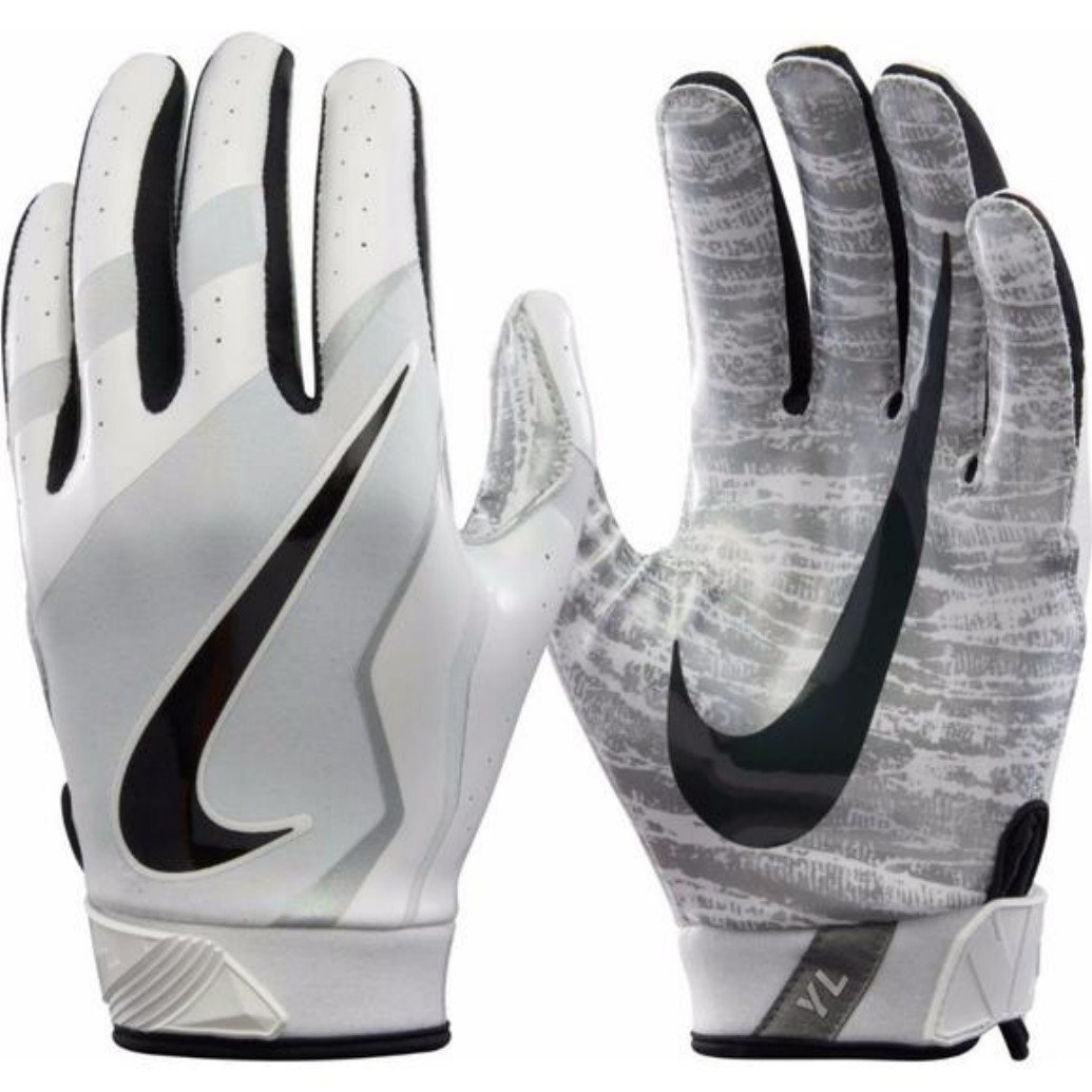 d570ae2b08fd Get Quotations · NIKE Vapor Jet 4 Football Pro Magnigrip Receiver Gloves  (White Black Silver)