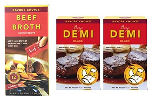 Savory Choice Liquid (1) Beef Broth Concentrates 5.1 oz & (2) Beef Demi Glace Reduction Sauce Packet 2.6 oz (Pack of 3)