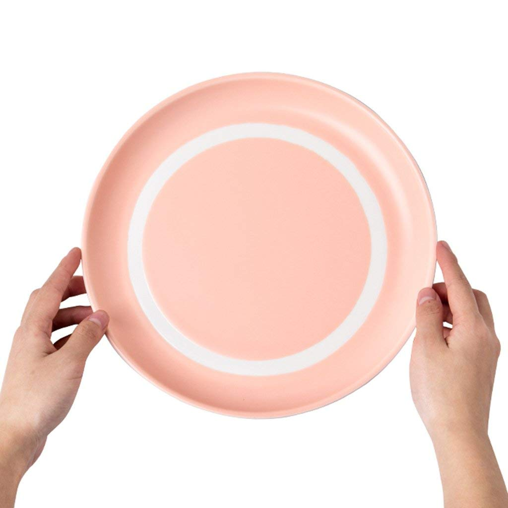 Plates Dinner Plates Ceramic Plates Solid Color Tray Soup Plate Western Steak Tray Round Dessert Plate Breakfast Salad Dish Home Dish Fruit Plate (Color : Pink, Size : 23.52cm)