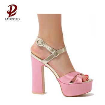 591debd7c55 latest ladies sandals new designs waterproof platform pink chunky heel  wholesale