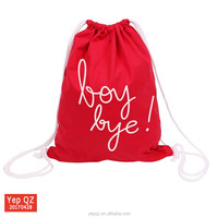 High quality China factory supply recycled cotton canvas red color custom white printing draw string backpack
